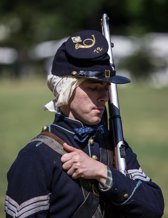 vestidos de epoca: Soldado de la unión, reconstrucción de la guerra civil, Red Bluff, California