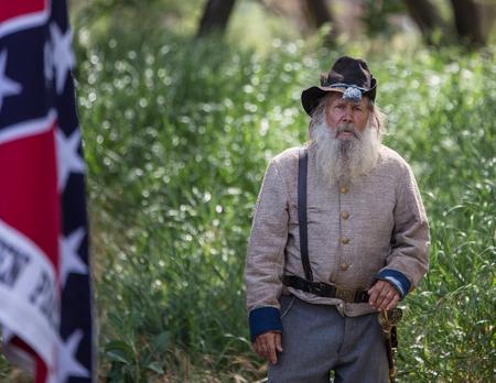 Commander Pappy Walton, Confederate officer at Dog Island Civil War Reenactment, Red Bluff, California.