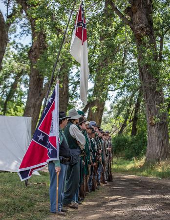 Inspection, Civil War Reenactment, Red Bluff, California Editorial
