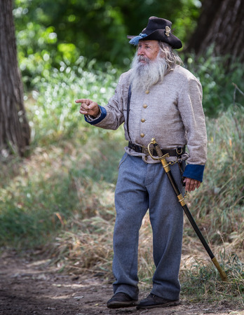red bluff: Commander Pappy Walton, Confederate officer at Dog Island Civil War Reenactment, Red Bluff, California.