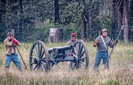 troops: Confederate troops reload their cannon during a Civil War reenactment in Graeagle, California.