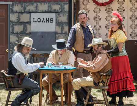 historical events: Graeagle, California, USA- July 4, 2015: The Nevada Gunfighters Wild West Theatrical Group performs a skit based on historical events in front of an audience at the Mohawk Independence Day Celebration in this small Northern California town.The Nevada Gunf