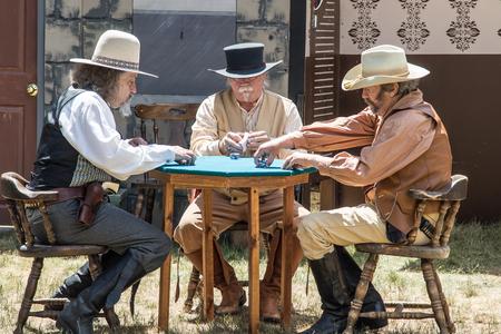 gunfighter: Old west gamblers in Greaegle, California.