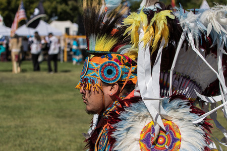 powwow: Native American Dancer at the Stillwater Pow-wow, Anderson, California. Editorial