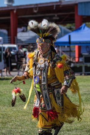 joyous festivals: Native American Dancer at the Stillwater Pow-wow, Anderson, California. Editorial