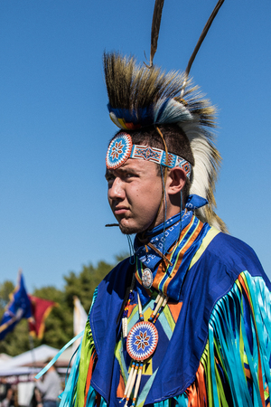 Native American Dancer at the Stillwater Pow-wow, Anderson, California. Editorial