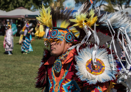 pima: Native American Dancer at the Stillwater Pow-wow, Anderson, California. Editorial