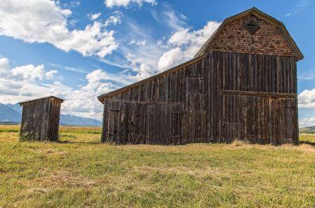 jackson: Old Barn and Outhouse, Jackson Hole, Wyoming Editorial