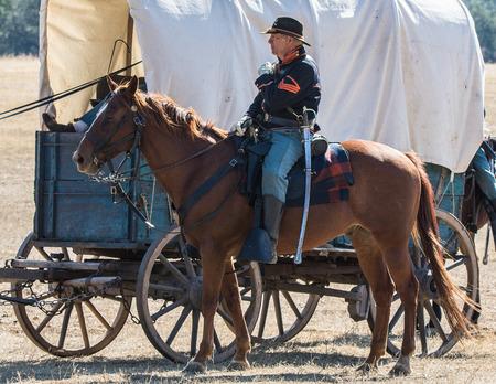 escort: Supply Wagon and Escort, Civil War reenactment at Anderson, California.