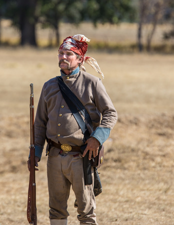 reenactment: Confederate infantry, Civil War reenactment, Anderson, California. Editorial