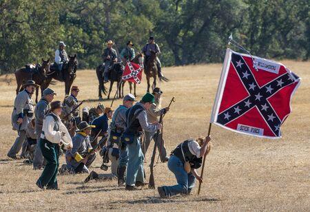 reenactment: Confederate Line, Civil War reenactment, Anderson, California.