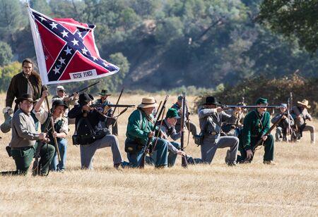 reenactment: Firing at the Union , Civil War Reenactment at Anderson, California. Editorial