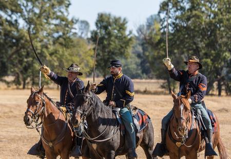 scouts: Union cavalry scouts, Civil War reenactment, Anderson, California. Editorial