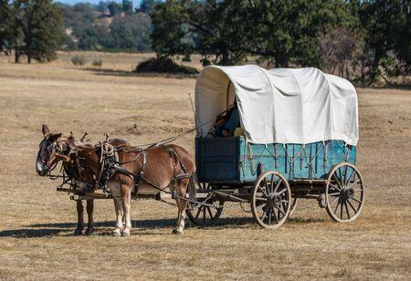 reenactment: Union supply wagon, Civil War reenactment, Anderson, California.