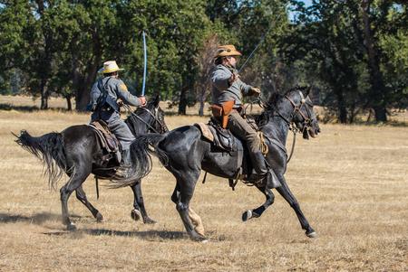 scouts: Confederate Scouts attack, Civil War reenactment, Anderson, California.