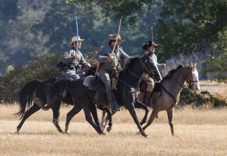 cavalry: Confederate Cavalry attack, Civil War reenactment, Anderson, California.