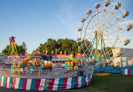 Carnival rides at the Shasta County Fair in Anderson, California.