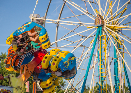 midway: Carnival rides at the Shasta County Fair in Anderson, California.