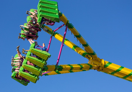 freak out: Fair goers enjoy the carnival ride Freak Out at the Shasta County FairThe Freak Out is a pendulum shaped ride that is very popular. Editorial