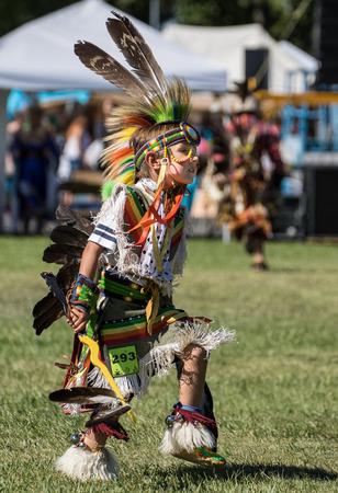 Young Native American Dancer, Stillwater Powwow, Anderson, California. Editorial