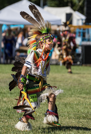 powwow: Young Native American Dancer, Stillwater Powwow, Anderson, California. Editorial