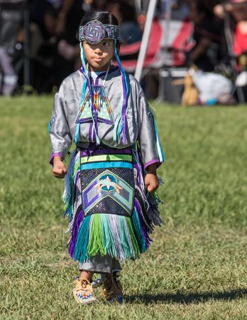 pima: Young Native American Dancer, Stillwater Powwow, Anderson, California. Editorial