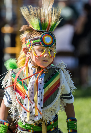 powwow: Young Native American Dancer, Stillwater Powwow, Anderson, California. Editorial