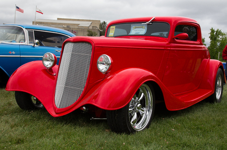 Red 1933 Ford Coupe, Redding, California