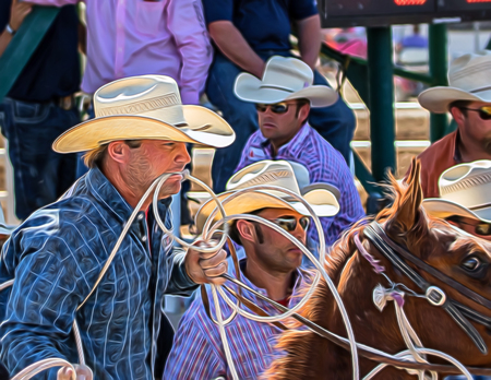red bluff: Getting Ready for Calf Roping,  Red Bluff Round Up, California