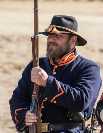 reenactor: Union Army reenactor,  Civil War Reenactment at Anderson, California.