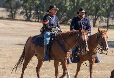 scouts: Union Army Scouts, Civil War Reenactment at Anderson, California.