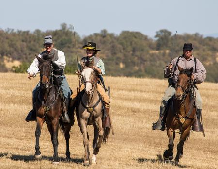 cavalry: Confederate Cavalry Scouts, Civil War Reenactment at Anderson, California.
