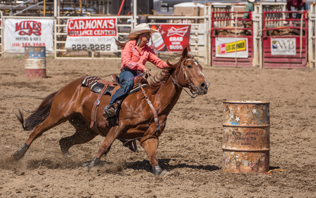looking good: Second barrel looking good,  Home Stretch Gallop,   Cottonwood Rodeo, California