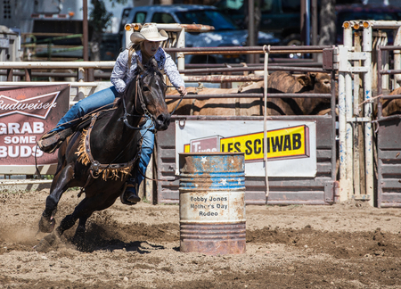 arena rodeo: Rounding the  first barrrel,   Cottonwood Rodeo, California