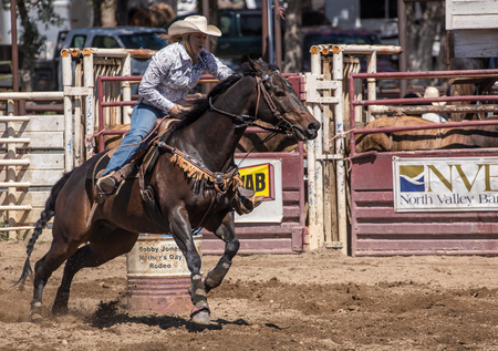cottonwood: Off to the next barrel,   Cottonwood Rodeo, California