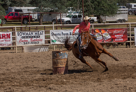 cottonwood: Barrel Racer Turns the Corner,  Cottonwood Rodeo, California Editorial
