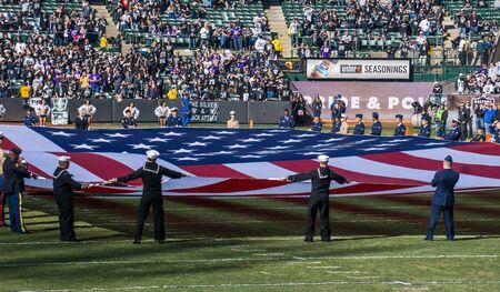 raider: Huge American Flag, Oakland Raider Stadium. Editorial