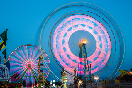 Colorful Midway Rides at the County Fair