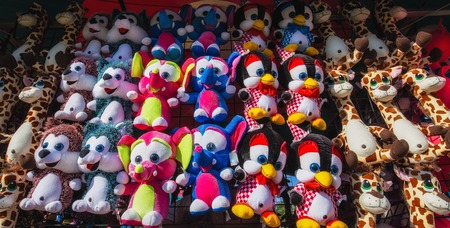 midway: Stuffed Animal Prizes on the Midway Stock Photo