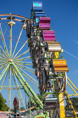 carnival ride: Exciting Carnival Ride at the County Fair Editorial