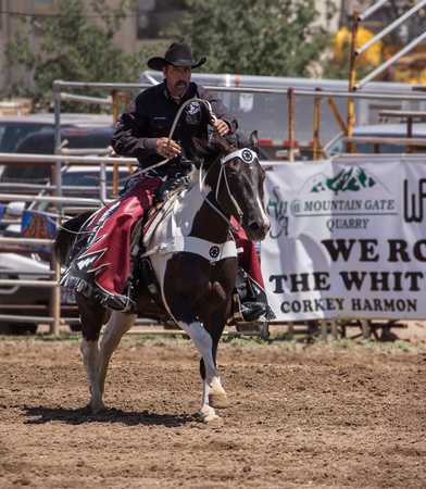 bucking bronco: Redding Rodeo Drill Team, Cottonwood Rodeo, Cottonwood, California.