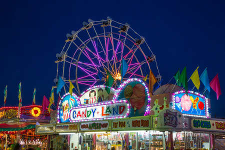 county fair: A colorful night on the midway at the Shasta County Fair in Anderson, California.