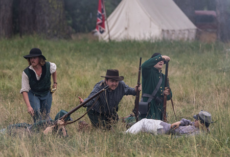 under fire: Confederates under  fire  at a Civil War reenactment in Graeagle, California.