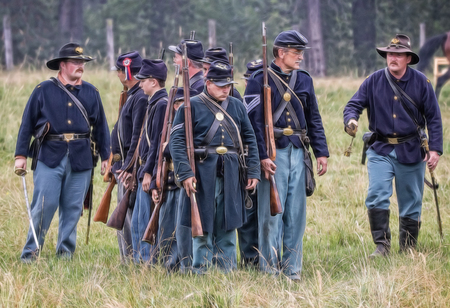 red bluff: Union soldiers prepare for combat   at a Civil War reenactment in Graeagle, California. Editorial
