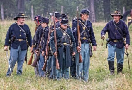 Union soldiers prepare for combat   at a Civil War reenactment in Graeagle, California. Editorial