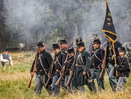 period costume: Union soldiers at a Civil War reenactment at Graeagle, California.