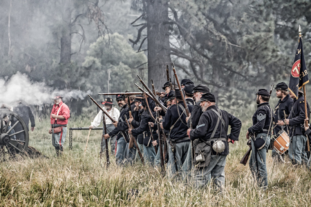 rebels: Union soldiers fire at the Rebels at a Civil War reenactment at Graeagle, California. Editorial