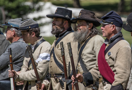 red bluff: Rebel troops at the Dog Island Civil War reenactment, Red Bluff, California Editorial