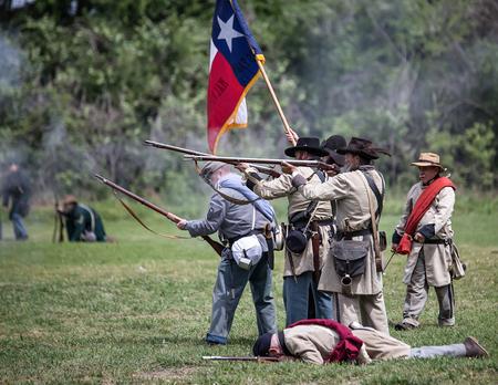 red bluff: Confederate troops in combatat the Dog Island Civil War reenactment, Red Bluff, California