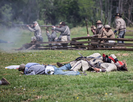bluff: Confederate wounded at the Dog Island Civil War reenactment, Red Bluff, California